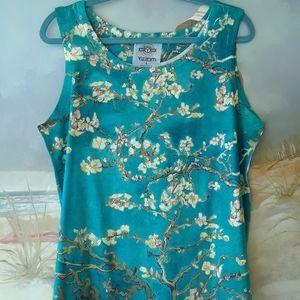 Yizzam Tshirt Garden Flower Blue Pink Foliage Pattern Mens Long Sleeve